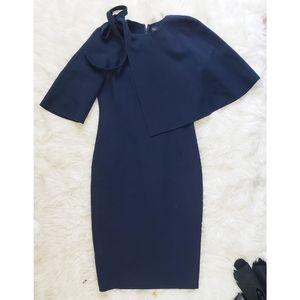 Oscar De La Renta Shoulder Cape Midi Wool Dress